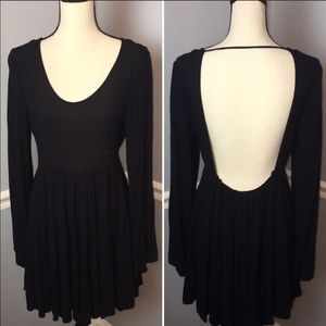 The Cove Black Low Back Gauzy Long Sleeve Dress